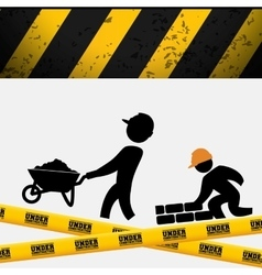 men builder wheelbarrow brick wall tape vector image