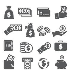 money icons set on white background vector image