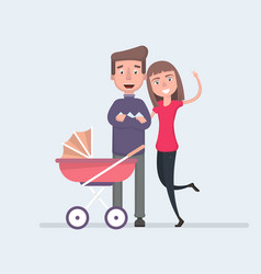 mother and father are happy with the birth of a vector image