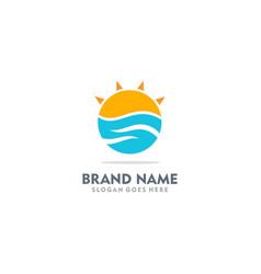 Ocean wave sunshine logo vector