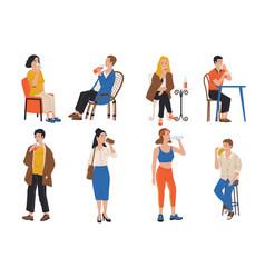 people drink cartoon men and women holding vector image