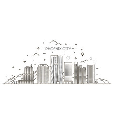 phoenix skyline detailed silhouette trendy vector image