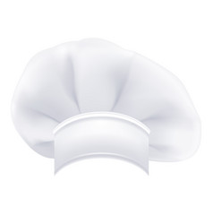 photorealistic modern white chef hat isolated on a vector image