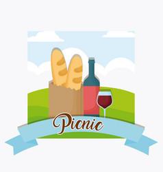 picnic emblem design vector image