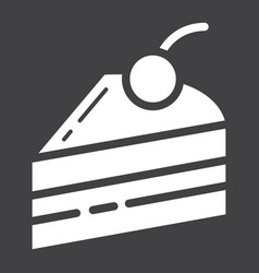 piece of cake glyph icon food and drink vector image