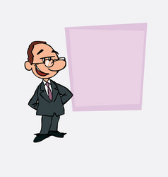 Quiet and relaxed white businessman with glasses vector