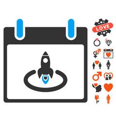 Rocket start calendar day icon with lovely bonus vector