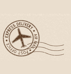 Round brown postmark on beige background vector
