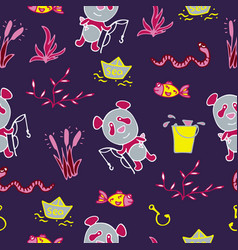 saturated seamless pattern with panda fishes vector image