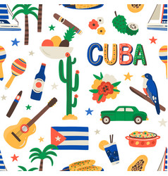 seamless cuban pattern with cuba touristic symbols vector image