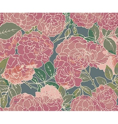 Seamless pattern with graphic bush roses vector