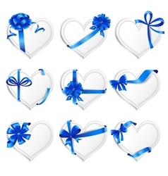 Set beautiful heart-shaped cards with blue gift vector