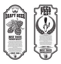 Set beer flyers with hop design element for vector