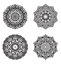 Set bundle black and white mandala element vector