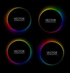 set colorful glowing blurry circle banners on vector image