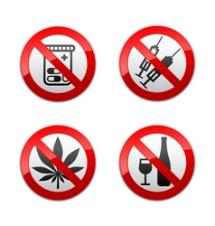 Set prohibited signs - drugs vector