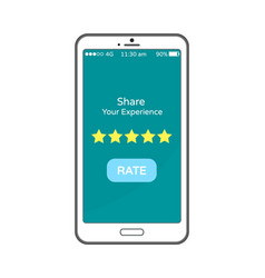 share your experience rate button on mobile phone vector image