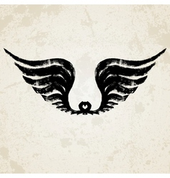 Silhouette of wings ink drawing vector image
