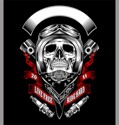 Skull with motorcycle helmet and bandana vector