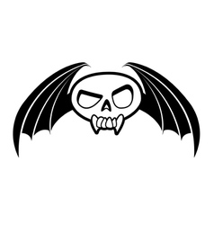 skull with wings three vector image