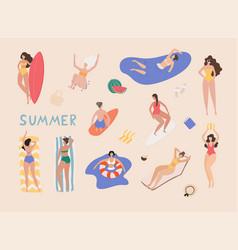 summer beach cartoon people woman performing vector image