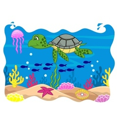 Turtle cartoon vector image