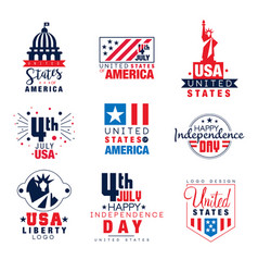 United states of america logo templates set 4th vector