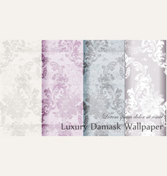Vintage floral baroque pattern set collection vector