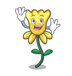 waving daffodil flower character cartoon vector image