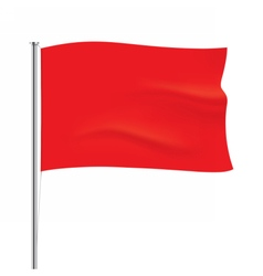 Waving red flag template vector