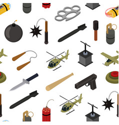weapons 3d isometric seamless pattern background vector image