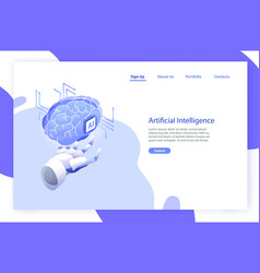 web banner template with robotic hand holding vector image