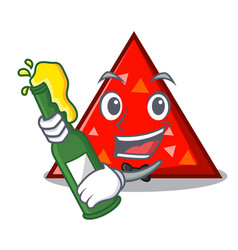 With beer triangel mascot cartoon style vector