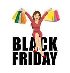 woman with shopping bags sitting black friday text vector image