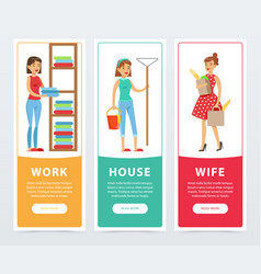 Work house wife banners set housekeeping and vector