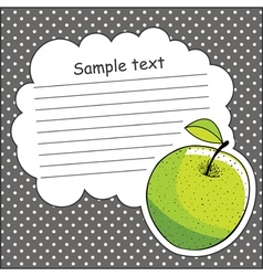 Card with green apple and message cloud vector image vector image