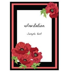 Poppy flowers frame vector image