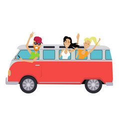 travelling conceptual banner people travel by bus vector image