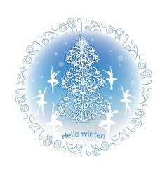 Vintage winter greeting card vector image vector image