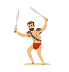 warrior character naked man in a red loincloth vector image vector image