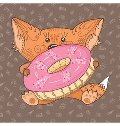 Baby fox with donut vector image