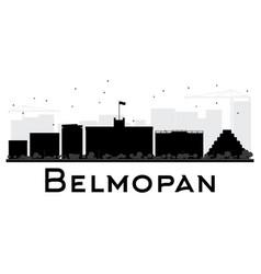 belmopan city skyline black and white silhouette vector image vector image