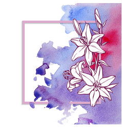 card watercolor and flowers vector image