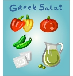 Greek salad and its ingredients vector image vector image
