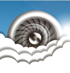 Jet engine in the sky vector image vector image