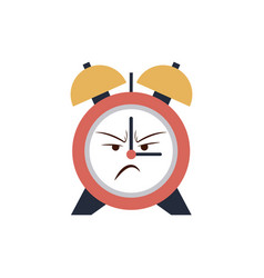 kawaii clock alarm time cartoon angry vector image