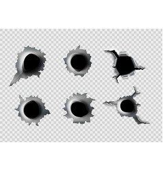 ragged hole in metal from bullets on white vector image vector image
