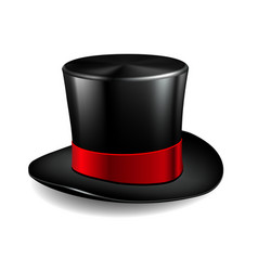 black cylinder hat with red ribbon vector image vector image