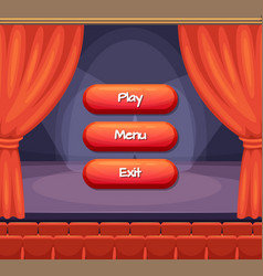 cartoon style buttons with text for game vector image