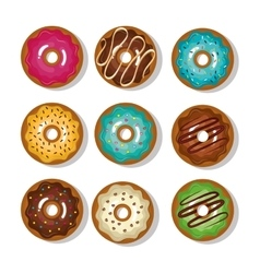 donuts collection dessert isolated graphic vector image